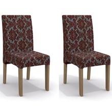 Kit 2 Cadeiras CAD107 para Sala de Jantar Nogal/Flores Bordô - Kappesberg