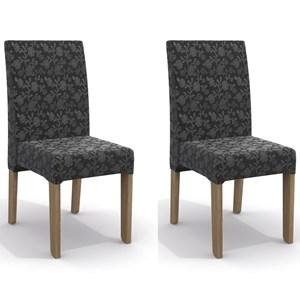 Kit 2 Cadeiras CAD107 para Sala de Jantar Nogal/Gold Floral - Kappesberg