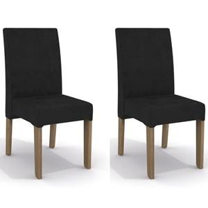 Kit 2 Cadeiras CAD107 para Sala de Jantar Nogal/Jet Black - Kappesberg