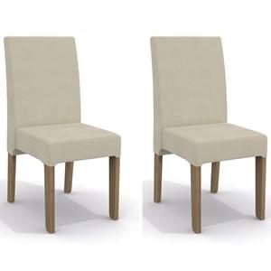 Kit 2 Cadeiras CAD107 para Sala de Jantar Nogal/Mink Relevo - Kappesberg