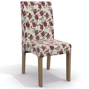 Kit 2 Cadeiras CAD107 para Sala de Jantar Nogal/Rosas Vermelhas - Kappesberg