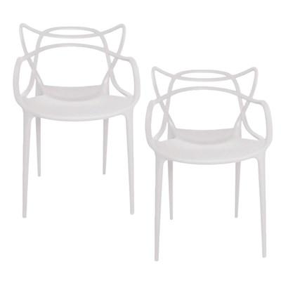 Kit 2 Cadeiras Decorativas Para Sala de Jantar Amsterdam F01 Branca - Mpozenato