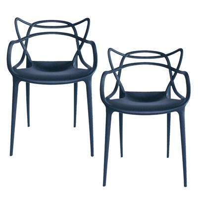 Kit 2 Cadeiras Decorativas Para Sala de Jantar Amsterdam F01 Preta - Mpozenato