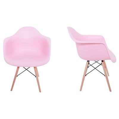 Kit 2 Cadeiras Eiffel Melbourne F01 Rosa com Pés Palito em Madeira - Mpozenato