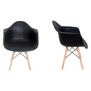 Kit 2 Cadeiras Eiffel Melbourne Preta com Pés Palito em Madeira - MP Decor