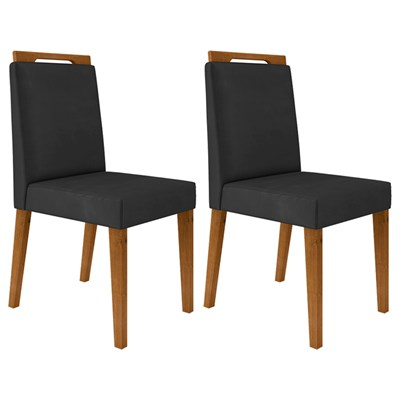 Kit 2 Cadeiras Estofadas Para Sala de Jantar Alana N04 Cinza Lux/Ipê - Mpozenato