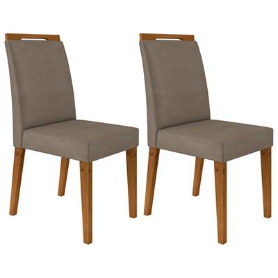 Kit 2 Cadeiras Estofadas Para Sala de Jantar Alana N04 Vanilla/Ipê - Mpozenato