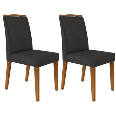 Kit 2 Cadeiras Estofadas Para Sala de Jantar Bella N04 Cinza Lux/Ipê - Mpozenato