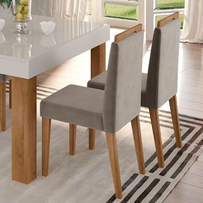 Kit 2 Cadeiras Estofadas Para Sala de Jantar Bella N04 Vanilla/Ipê - Mpozenato