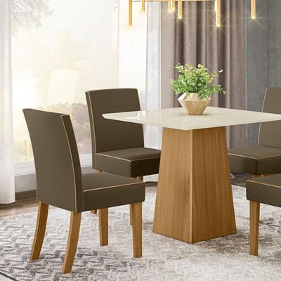 Kit 2 Cadeiras Estofadas para Sala de Jantar Maris Nature/Bege - Henn