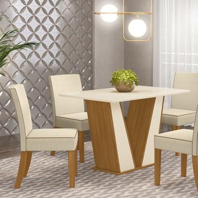 Kit 2 Cadeiras Estofadas para Sala de Jantar Maris Nature/Linho - Henn