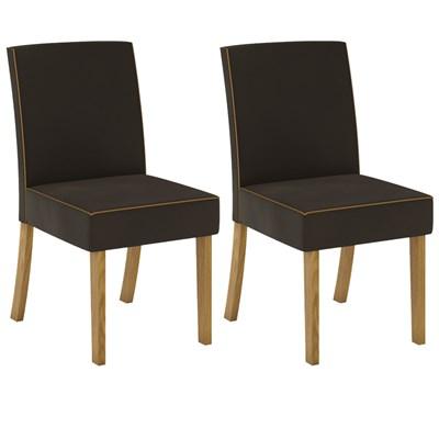 Kit 2 Cadeiras Estofadas para Sala de Jantar Maris Nature/Marrom - Henn