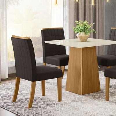 Kit 2 Cadeiras Estofadas para Sala de Jantar Tauá Nature/Marrom - Henn