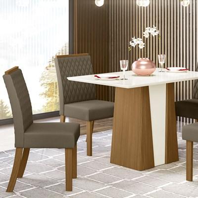 Kit 2 Cadeiras Estofadas para Sala de Jantar Vega Nature/Bege - Henn