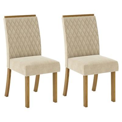 Kit 2 Cadeiras Estofadas para Sala de Jantar Vega Nature/Linho - Henn