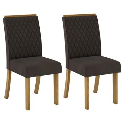 Kit 2 Cadeiras Estofadas para Sala de Jantar Vega Nature/Marrom - Henn