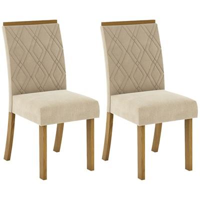 Kit 2 Cadeiras Estofadas para Sala de Jantar Vita Nature/Linho - Henn