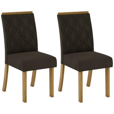 Kit 2 Cadeiras Estofadas para Sala de Jantar Vita Nature/Marrom - Henn