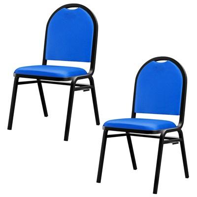 Kit 2 Cadeiras Hoteleiras Auditório Hotel Empilhável Fixa Azul  - Pethiflex