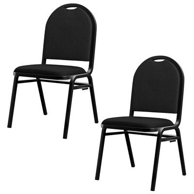 Kit 2 Cadeiras Hoteleiras Auditório Hotel Empilhável Fixa Preta  - Pethiflex