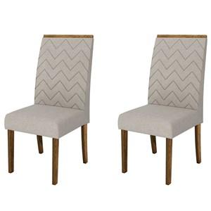 Kit 2 Cadeiras para Sala de Jantar Áurea Demolição/Bege - DJ Móveis