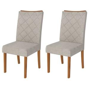 Kit 2 Cadeiras para Sala de Jantar Golden Carvalho/Bege - DJ Móveis