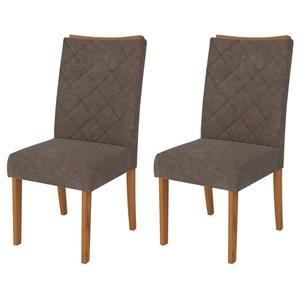 Kit 2 Cadeiras para Sala de Jantar Golden Carvalho/Marrom - DJ Móveis
