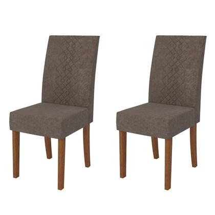 Kit 2 Cadeiras para Sala de Jantar Olimpia Terrara/Marrom - DJ Móveis