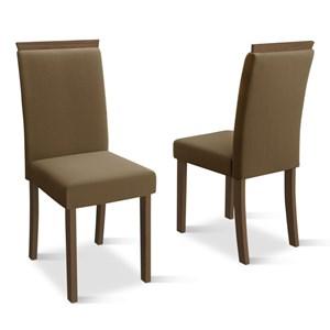 Kit 2 Cadeiras para Sala de Jantar Paloma Castanho/Veludo Marrom - New Ceval