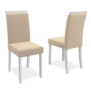 Kit 2 Cadeiras para Sala de Jantar Paloma Off White/Champagne - New Ceval