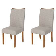 Kit 2 Cadeiras para Sala de Jantar Serena Carvalho/Bege - DJ Móveis