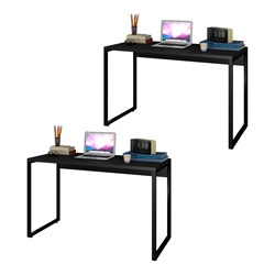 Kit 2 Escrivaninhas Mesas de Escritório Studio Industrial 120 M18 Pret