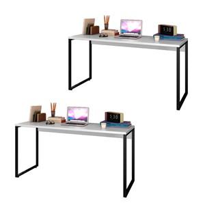 Kit 2 Escrivaninhas Mesas de Escritório Studio Industrial 150 M18 Branco – Mpozenato