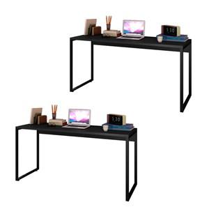 Kit 2 Escrivaninhas Mesas de Escritório Studio Industrial 150 M18 Preto – Mpozenato