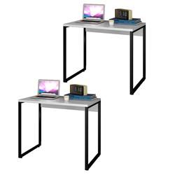 Kit 2 Escrivaninhas Mesas de Escritório Studio Industrial 90 M18 Branc