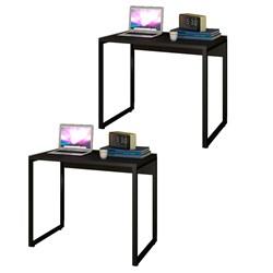 Kit 2 Escrivaninhas Mesas de Escritório Studio Industrial 90 M18 Preto