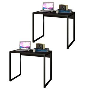 Kit 2 Escrivaninhas Mesas de Escritório Studio Industrial 90 M18 Preto – Mpozenato