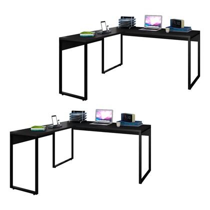 Kit 2 Mesas de Escritório em L 150x150 Studio Industrial M18 Preto – Mpozenato