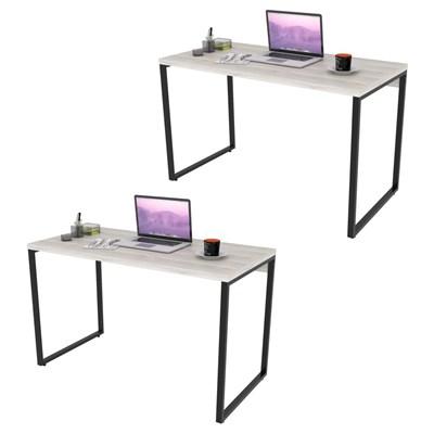 Kit 2 Mesas de Escritório Office 135cm Estilo Industrial Prisma C08 Snow - Mpozenato