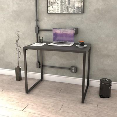 Kit 2 Mesas de Escritório Office 90cm Estilo Industrial Prisma C08 Preto Onix - Mpozenato
