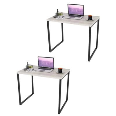 Kit 2 Mesas de Escritório Office 90cm Estilo Industrial Prisma C08 Snow - Mpozenato
