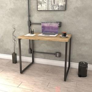 Kit 2 Mesas de Escritório Office 90cm Estilo Industrial Prisma Carvalho - Mpozenato
