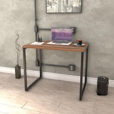 Kit 2 Mesas de Escritório Office 90cm Estilo Industrial Prisma Nogal - Mpozenato