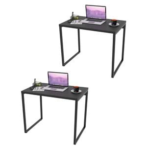 Kit 2 Mesas de Escritório Office 90cm Estilo Industrial Prisma Preto Onix - Mpozenato