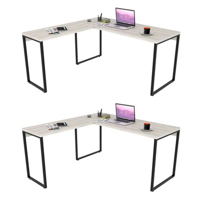 Kit 2 Mesas de Escritório Office em L 150x150cm Estilo Industrial Prisma C08 Snow - Mpozenato