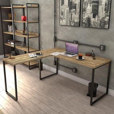 Kit 2 Mesas de Escritório Office em L 150x150cm Estilo Industrial Prisma Carvalho - Mpozenato