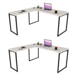 Kit 2 Mesas de Escritório Office em L 150x150cm Estilo Industrial Pris