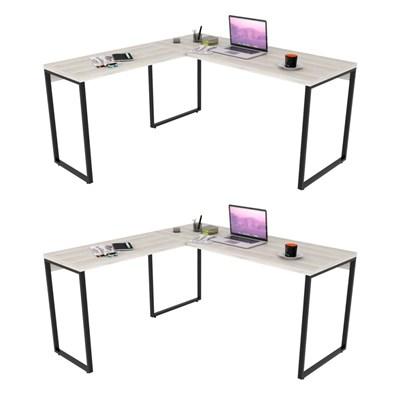Kit 2 Mesas de Escritório Office em L 150x150cm Estilo Industrial Prisma Snow - Mpozenato