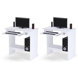 Kit 2 Mesas Escrivaninha para Computador AJL Branco - AJL Móveis