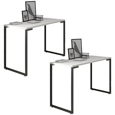 Kit 2 Mesas Para Computador Escrivaninha 120cm Estilo Industrial New Port  F02 Branco - Mpozenato